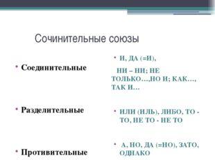 Сочинительные союзы Соединительные Разделительные Противительные И, ДА (=И),