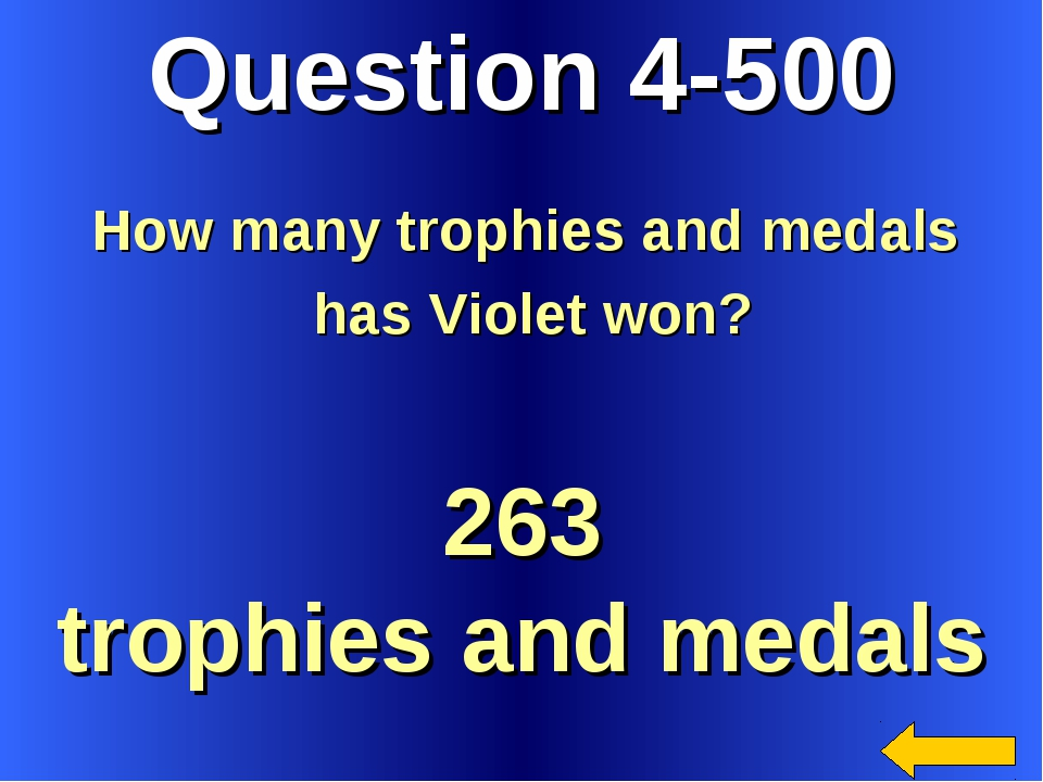 Question 4-500 263 trophies and medals How many trophies and medals has Viole...