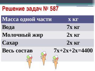 Решение задач № 587 Масса одной части хкг Вода 7х кг Молочныйжир 2х кг Сахар