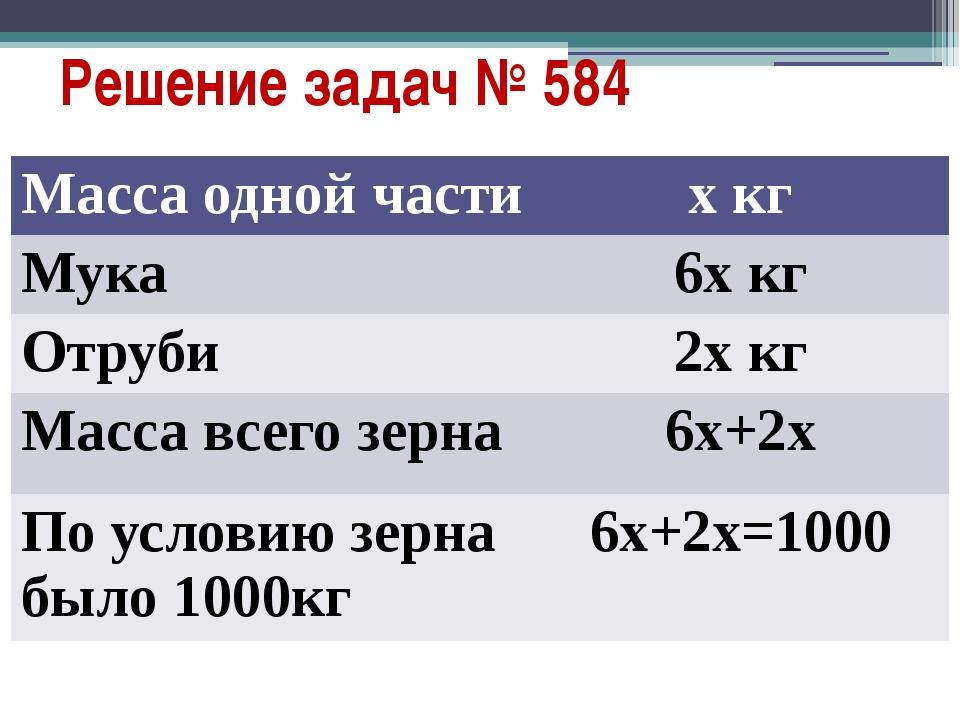Решение задач № 584 Масса одной части хкг Мука 6х кг Отруби 2х кг Масса всего...