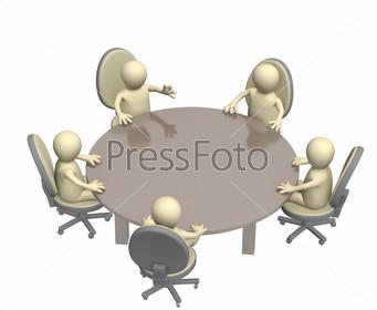 Разговор белых человечков за круглым столом
