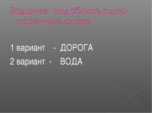 1 вариант - ДОРОГА 2 вариант - ВОДА