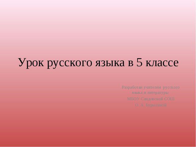 Урок русского языка в 5 классе Разработан учителем русского языка и литератур...