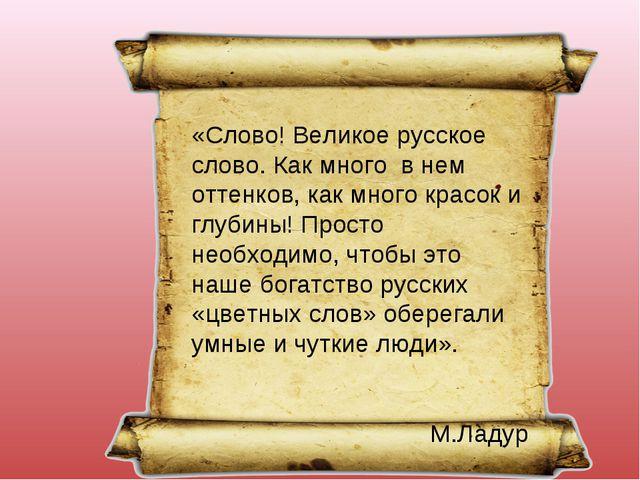 «Слово! Великое русское слово. Как много в нем оттенков, как много красок и г...