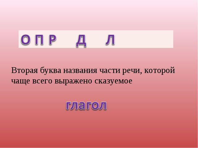 Вторая буква названия части речи, которой чаще всего выражено сказуемое...