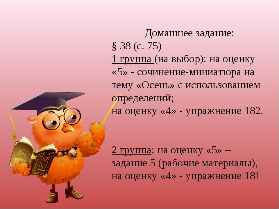 Домашнее задание: § 38 (с. 75) 1 группа (на выбор): на оценку «5» - сочинение...