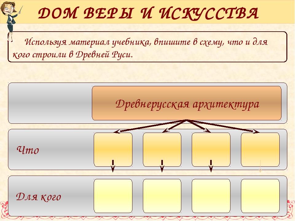 Используя материал учебника, впишите в схему, что и для кого строили в Древне...