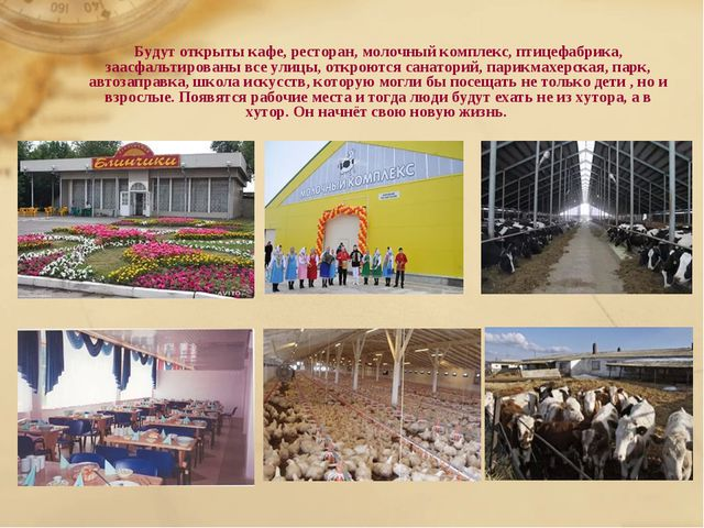 Будут открыты кафе, ресторан, молочный комплекс, птицефабрика, заасфальтирова...