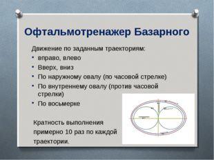 Офтальмотренажер Базарного Движение по заданным траекториям: вправо, влево Вв