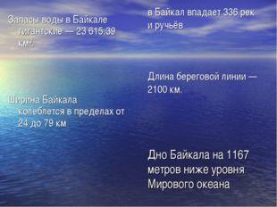 в Байкал впадает 336рек иручьёв Длинабереговой линии — 2100км. Дно Байкал