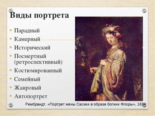 Виды портрета Парадный Камерный Исторический Посмертный (ретроспективный) Кос...