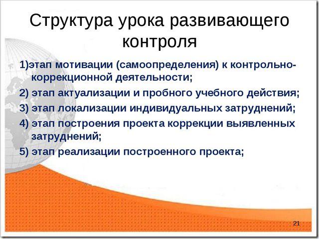 Структура урока развивающего контроля 1)этап мотивации (самоопределения) к ко...
