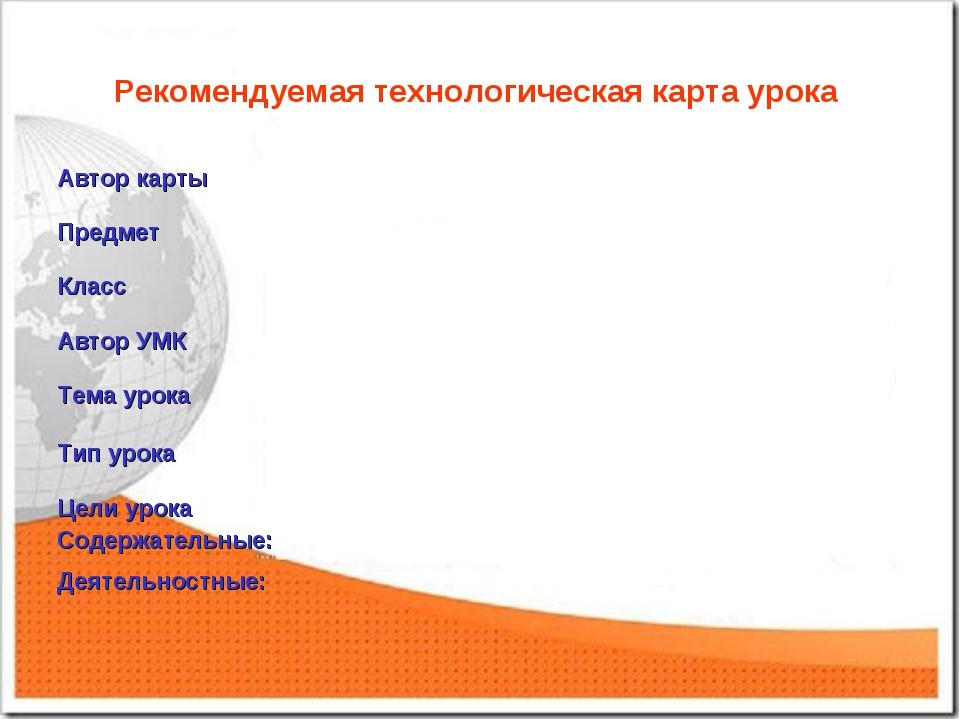 Рекомендуемая технологическая карта урока Автор карты Предмет Класс Автор...