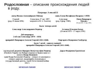 Родословная – описание происхождения людей в роду. Патриарх Алексий II отец