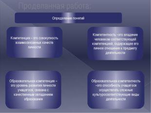 Проделанная работа: Определение понятий Компетенция – это совокупность взаимо