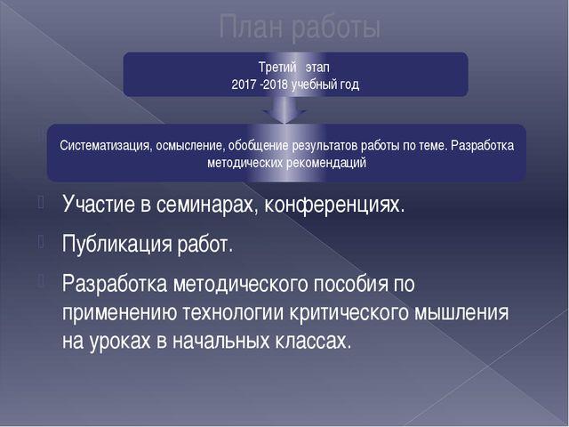 План работы Разработка и оформление научных работ для публикации. Участие в...
