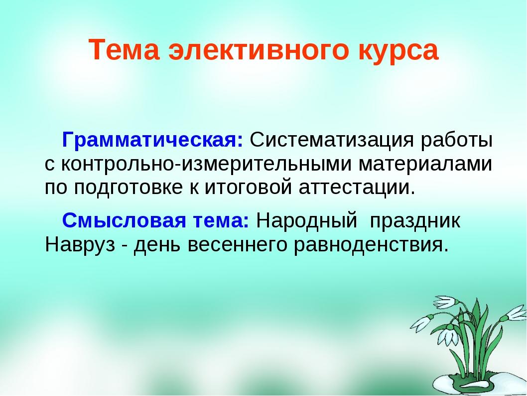Тема элективного курса Грамматическая: Систематизация работы с контрольно-изм...
