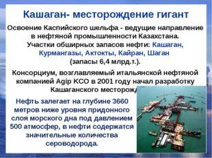 Кашаган- месторождение гигант Нефть залегает на глубине 3660 метров ниже уров