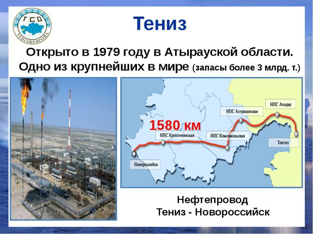Тениз Нефтепровод Тениз - Новороссийск 1580 км Открыто в 1979 году в Атырауск...