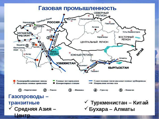 Газовая промышленность Газопроводы – транзитные Средняя Азия – Центр Бухара-А...