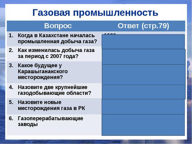 Газовая промышленность Вопрос Ответ (стр.79) 1. Когда в Казахстане началась п...