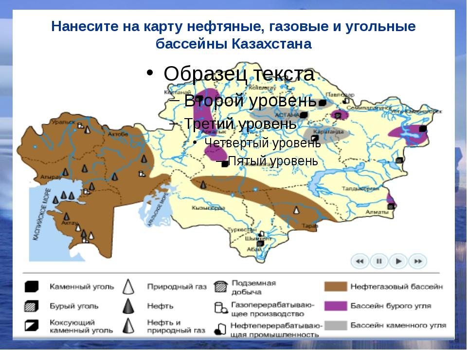 Нанесите на карту нефтяные, газовые и угольные бассейны Казахстана