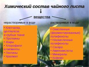 Химический состав чайного листа вещества растворимые в воде Клетчатка, целлюл