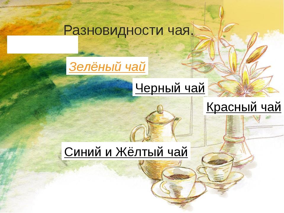Разновидности чая. Белый чай Зелёный чай Черный чай Синий и Жёлтый чай Красны...