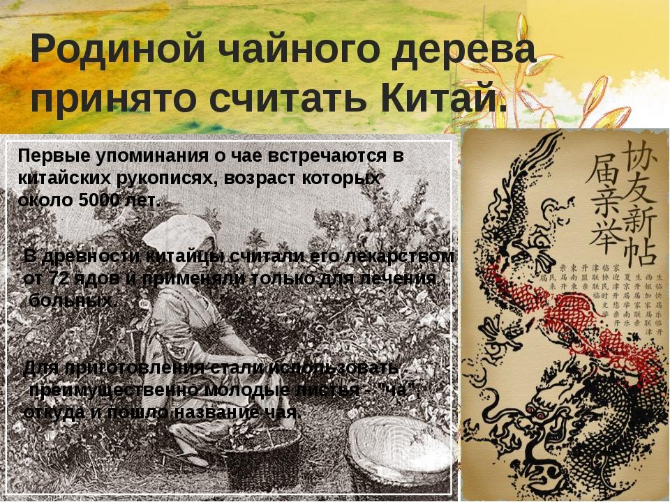 Родиной чайного дерева принято считать Китай. Первые упоминания о чае встреча...