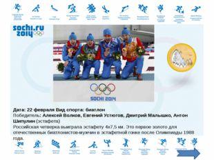 Вид спорта: бобслей Экипаж Александра Зубкова в составе Алексея Негодайло, Дм