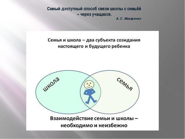 Самый доступный способ связи школы с семьёй – через учащихся. А. С. Макаренко