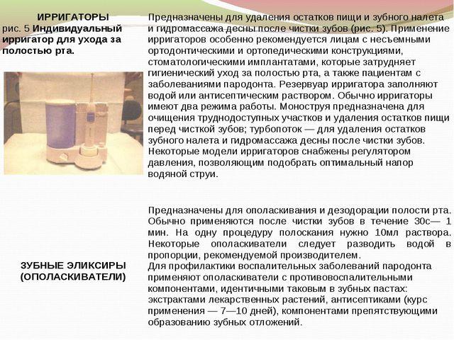 ИРРИГАТОРЫ рис. 5 Индивидуальный ирригатор для ухода за полостью рта. Предн...