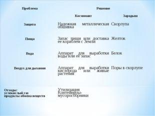 Проблема Решение  Космонавт Зародыш Защита Надежная металлическая обши