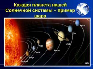 Каждая планета нашей Солнечной системы – пример шара Предлагаю учащимся назва