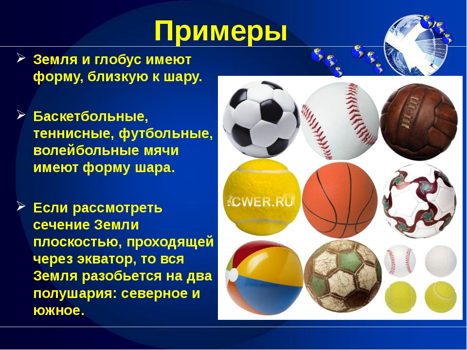 Примеры Земля и глобус имеют форму, близкую к шару. Баскетбольные, теннисные...