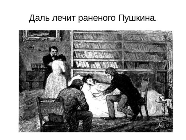 Даль лечит раненого Пушкина.