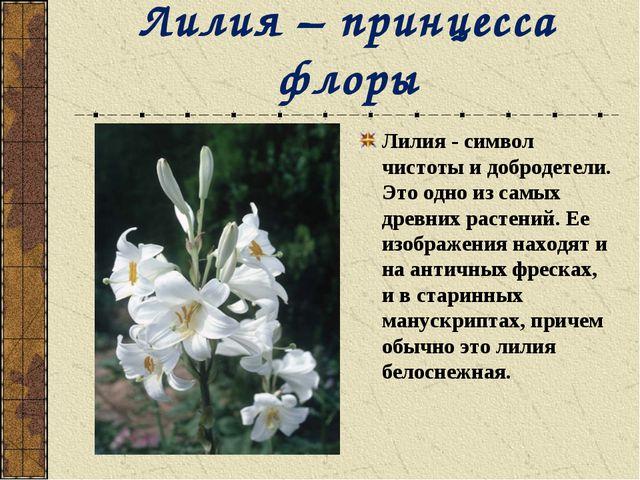 Лилия – принцесса флоры Лилия - символ чистоты и добродетели. Это одно из сам...