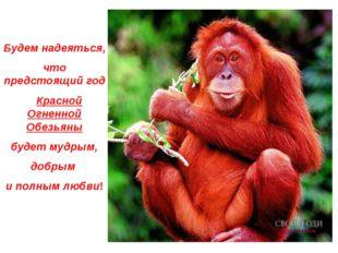 Будем надеяться, что предстоящий год Красной Огненной Обезьяны будет мудрым,