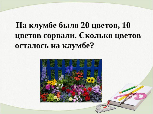 На клумбе было 20 цветов, 10 цветов сорвали. Сколько цветов осталось на клум...