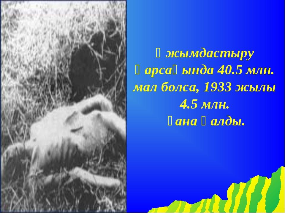Ұжымдастыру қарсаңында 40.5 млн. мал болса, 1933 жылы 4.5 млн. ғана қалды.