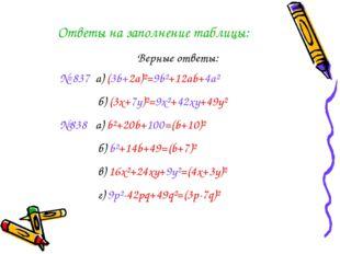 Ответы на заполнение таблицы: Верные ответы: № 837 a) (3b+2a)²=9b²+12ab+4a² б