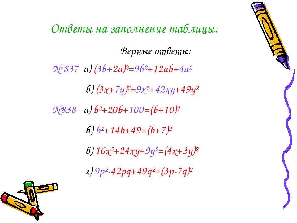 Ответы на заполнение таблицы: Верные ответы: № 837 a) (3b+2a)²=9b²+12ab+4a² б...