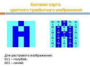 Битовая карта  цветного трехбитного изображения Для растрового изображения: