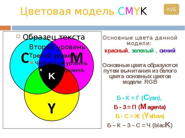 Цветовая модель CMYK Основные цвета данной модели:  красный, зеленый , сини...
