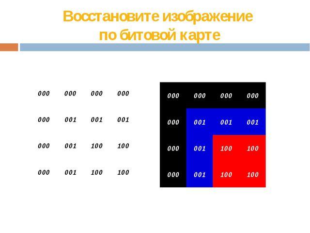 Восстановите изображение  по битовой карте