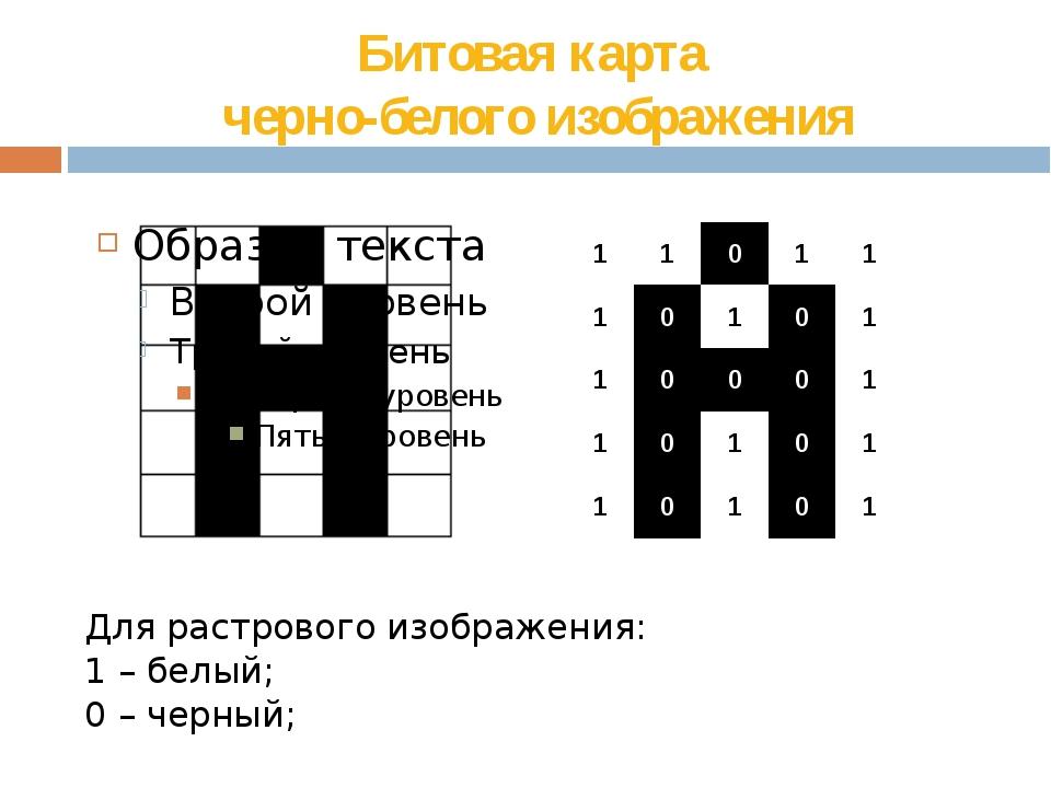 Битовая карта  черно-белого изображения Для растрового изображения: 1 – бел...