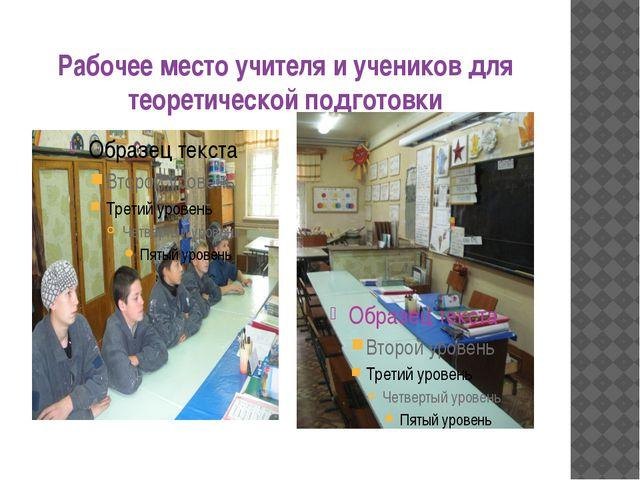 Рабочее место учителя и учеников для теоретической подготовки