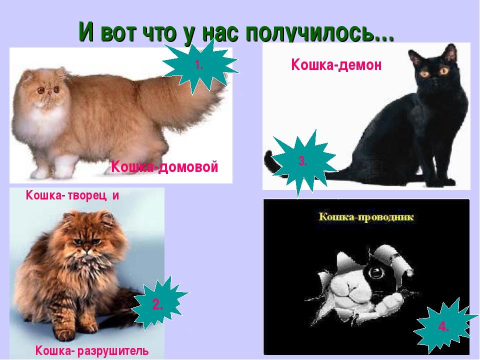 И вот что у нас получилось… 4. Кошка-демон Кошка-домовой Кошка- творец и Кошк...