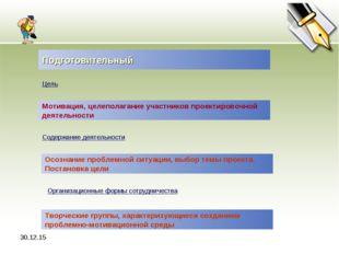 * Подготовительный Цель Мотивация, целеполагание участников проектировочной д