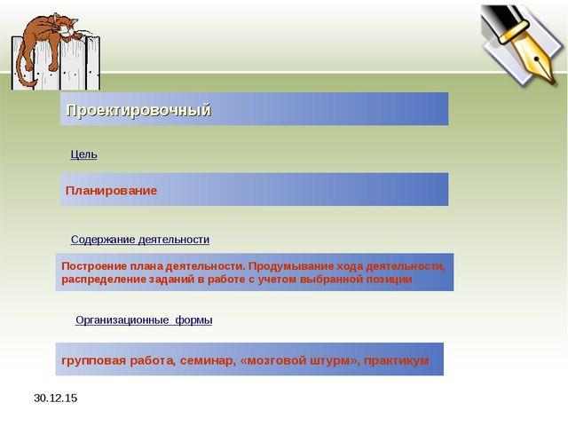 * Проектировочный Цель Планирование Содержание деятельности Построение плана...